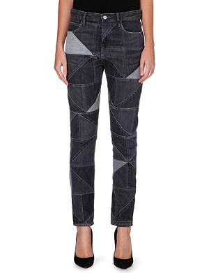 ISABEL MARANT ETOILE Dillon slim mid-rise patchwork jeans