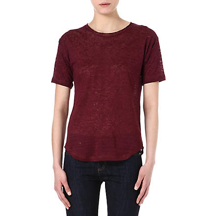 ISABEL MARANT Mary linen t-shirt (Burgundy