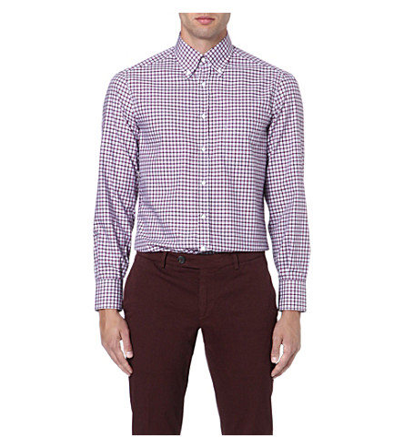 BRUNELLO CUCINELLI Fitted cotton shirt (Red