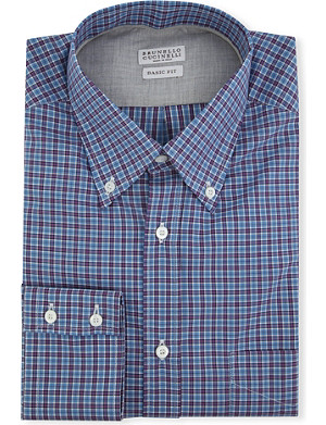 BRUNELLO CUCINELLI Madras-checked regular-fit single-cuff shirt