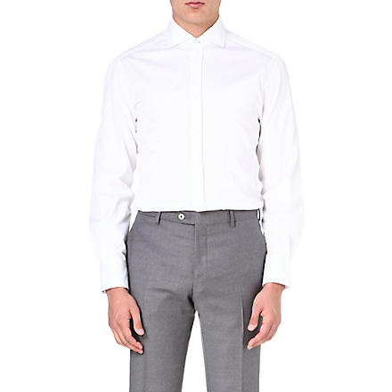 BRUNELLO CUCINELLI Striped slim-fit shirt (White