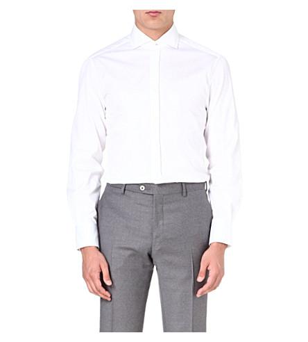 BRUNELLO CUCINELLI Striped slim-fit shirt (White