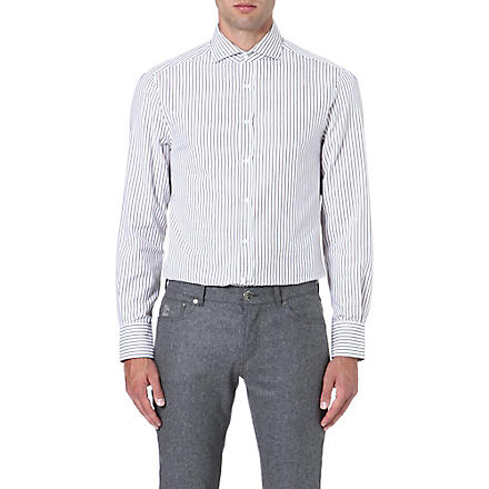BRUNELLO CUCINELLI Striped cotton shirt (Brown