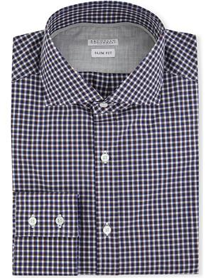 BRUNELLO CUCINELLI Checked slim-fit single-cuff shirt