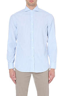 BRUNELLO CUCINELLI Shadow-striped regular-fit single-cuff shirt