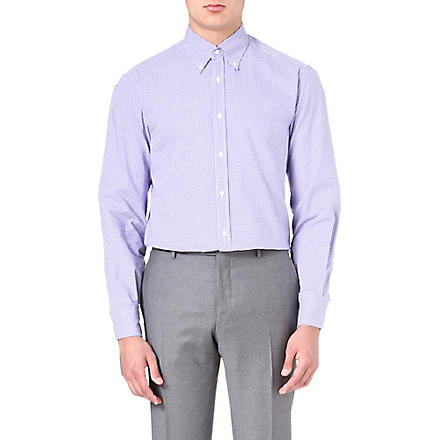BRUNELLO CUCINELLI Gingham regular-fit shirt (Purple