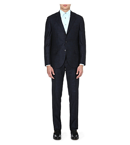 BRUNELLO CUCINELLI Single-breasted wool-blend suit (Navy