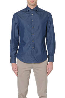 BRUNELLO CUCINELLI Spread-collar slim-fit chambray shirt