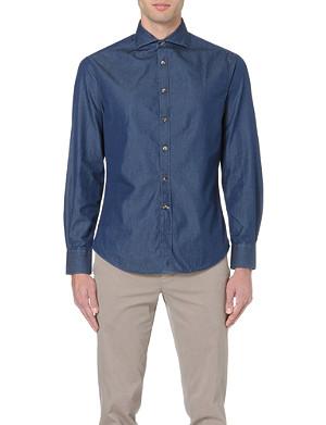 BRUNELLO CUCINELLI Spread-collar slim-fit chambray shirt