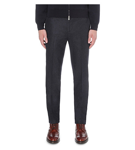 BRUNELLO CUCINELLI slim-fit wool trousers (Navy