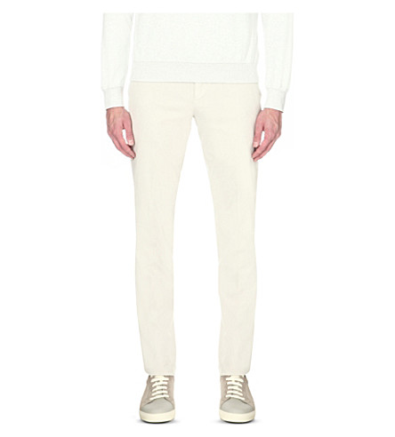 BRUNELLO CUCINELLI Slim-fit straight stretch-cotton trousers (Marble