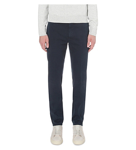 BRUNELLO CUCINELLI Slim-fit straight stretch-cotton trousers (Navy