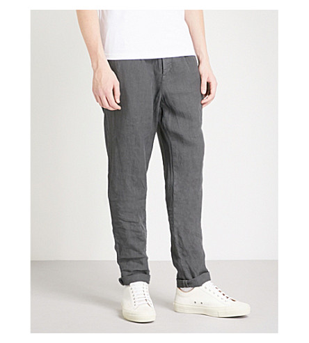 BRUNELLO CUCINELLI Drawstring tapered linen trousers (Grey