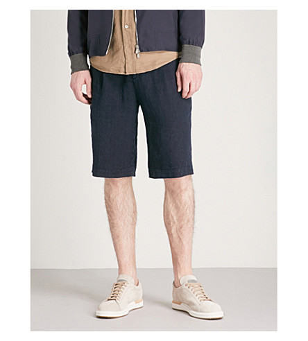 BRUNELLO CUCINELLI Regular-fit linen shorts (Navy