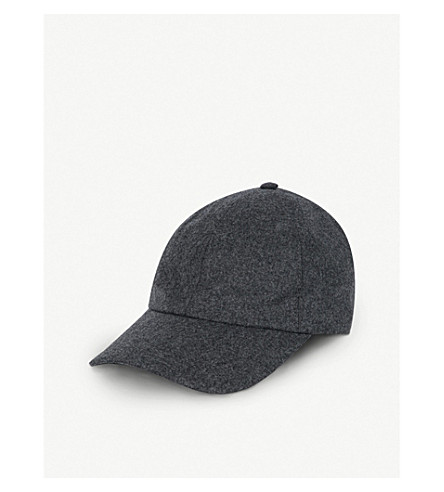 BRUNELLO CUCINELLI Leather-detail wool baseball cap (Grey