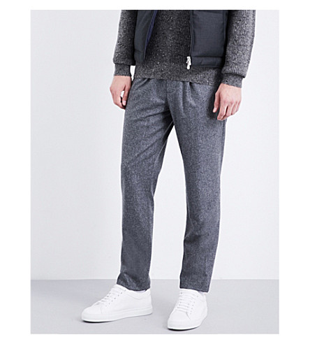 BRUNELLO CUCINELLI Leisure-fit tapered wool trousers (Charcoal