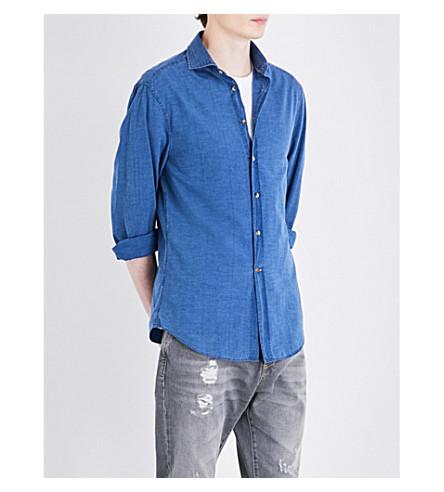 BRUNELLO CUCINELLI Ruched-shoulder slim-fit cotton shirt (Grey+denim