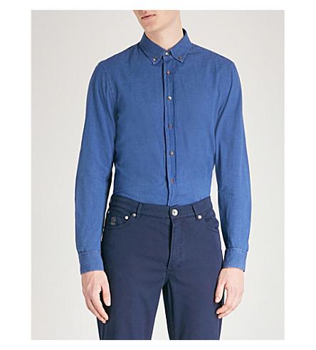 BRUNELLO CUCINELLI Leisure-fit cotton-chambray shirt (Indigo