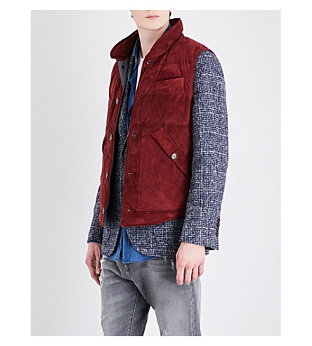 BRUNELLO CUCINELLI Suede down-filled gilet (Burnt+rust