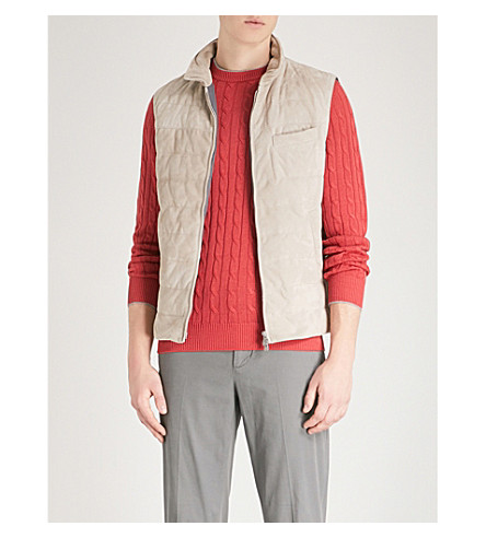 BRUNELLO CUCINELLI Padded suede gilet (Sand
