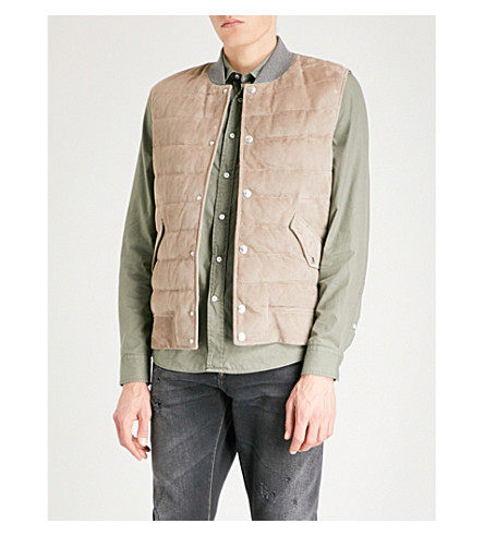 BRUNELLO CUCINELLI Quilted suede down gilet (Stone