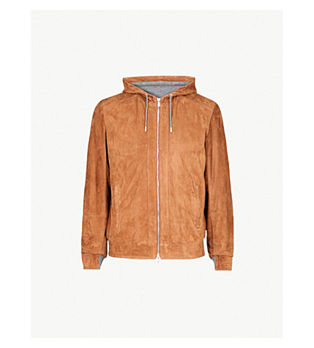 BRUNELLO CUCINELLI Hooded suede bomber jacket (Cognac