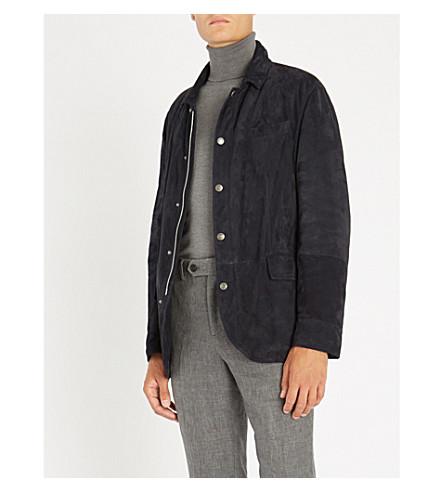 BRUNELLO CUCINELLI Collared suede jacket (Navy