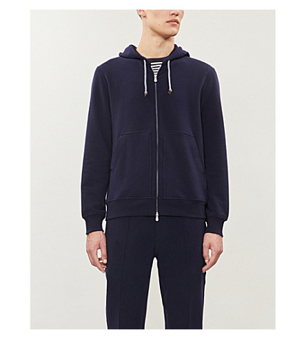 BRUNELLO CUCINELLI Zipper-up cotton-jersey hoody (Navy