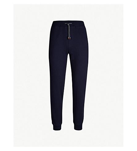 BRUNELLO CUCINELLI Marled cotton jogging bottoms (Navy