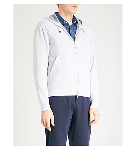 BRUNELLO CUCINELLI Spa jersey hoody (Light+grey