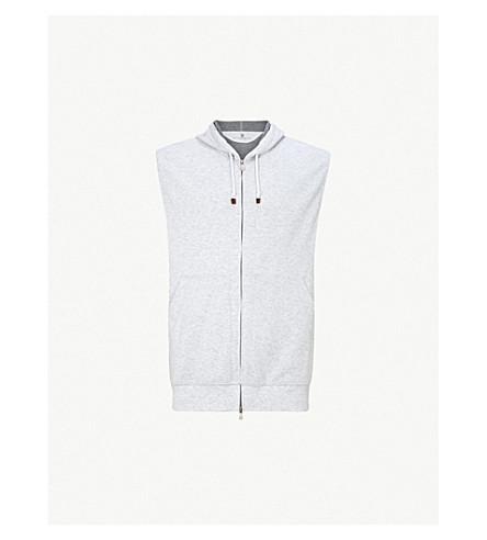BRUNELLO CUCINELLI Zip-up cotton-jersey vest (Light+grey