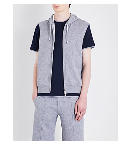 BRUNELLO CUCINELLI Zip-up cotton-jersey vest (Pearl