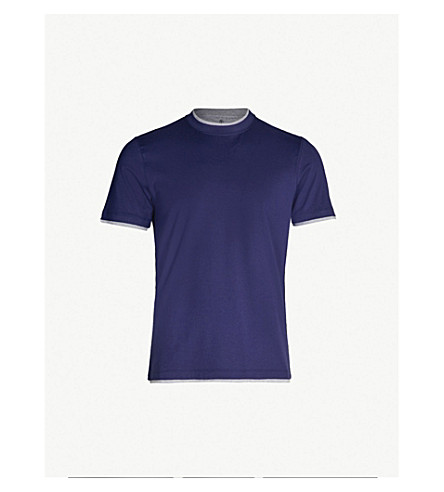 BRUNELLO CUCINELLI Double-layer crewneck cotton-jersey T-shirt (Blue