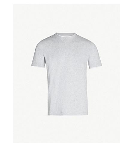 BRUNELLO CUCINELLI Double-layer crewneck cotton-jersey T-shirt (Grey