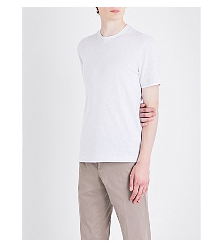 BRUNELLO CUCINELLI Double-layer crewneck cotton-jersey T-shirt (Light+grey