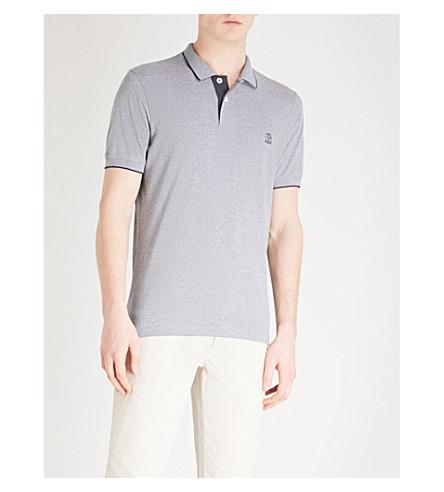 BRUNELLO CUCINELLI Logo-detail slim-fit cotton-piqué polo shirt (Grey