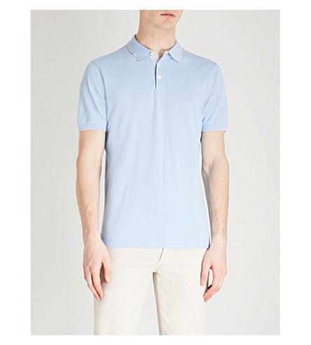 BRUNELLO CUCINELLI Contrast-tipped cotton-piqué polo shirt (Aquamarina