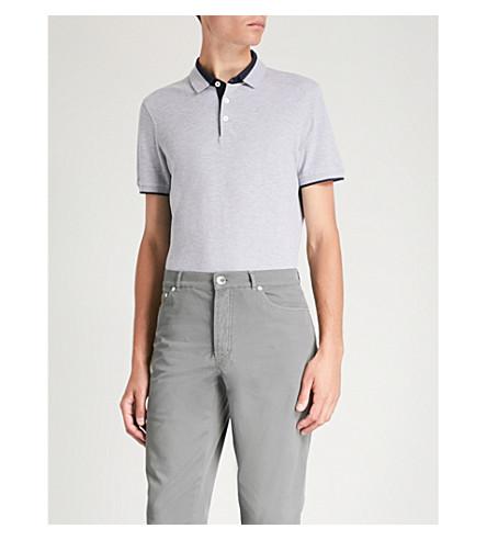BRUNELLO CUCINELLI Contrast-detail cotton-piqué polo shirt (Grey+navy