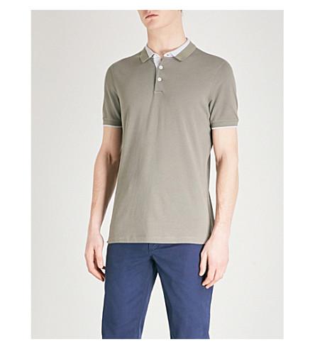 BRUNELLO CUCINELLI Contrast-detail cotton-piqué polo shirt (Military+green