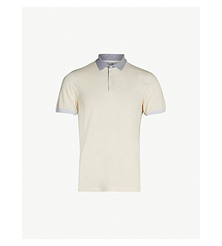 BRUNELLO CUCINELLI Two-tone cotton-piqué polo shirt (Cream