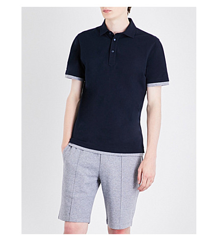 BRUNELLO CUCINELLI Slim-fit cotton-piqué polo shirt (Navy
