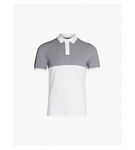 BRUNELLO CUCINELLI Two-tone cotton-piqué polo shirt (White