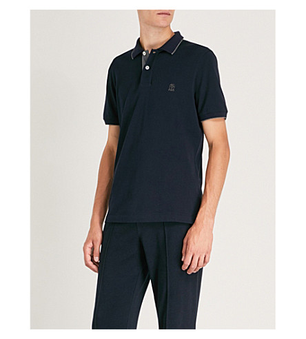 BRUNELLO CUCINELLI Logo-embroidered cotton-piqué polo shirt (Navy
