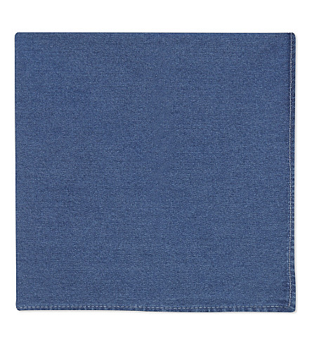 BRUNELLO CUCINELLI Chambray cotton pocket square (Multi
