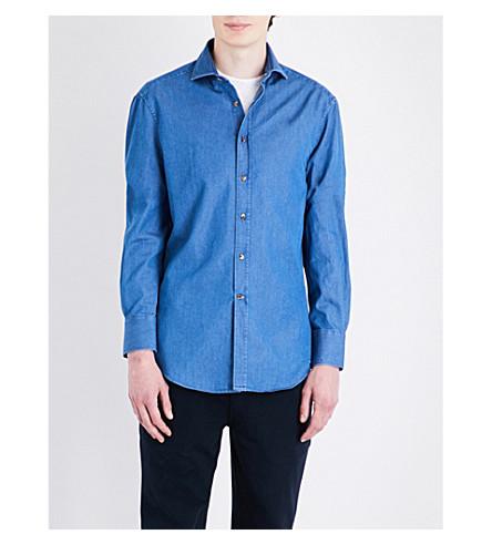 BRUNELLO CUCINELLI Slim-fit denim shirt (Blue