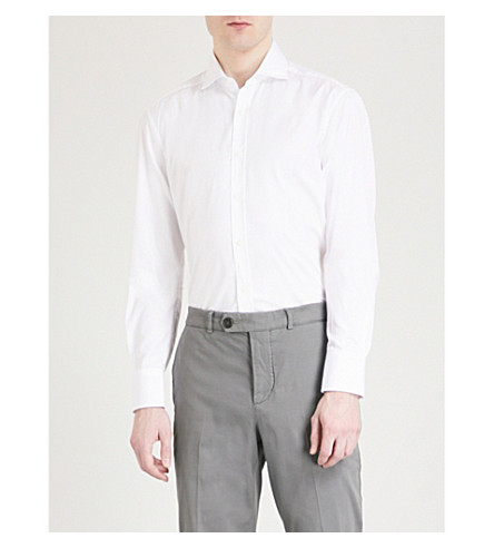 BRUNELLO CUCINELLI Ruched-shoulder slim-fit cotton shirt (White