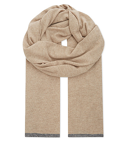 BRUNELLO CUCINELLI Contrast tipping cashmere scarf (Camel