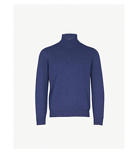 BRUNELLO CUCINELLI Zip-detail cashmere jumper (Blue+grey