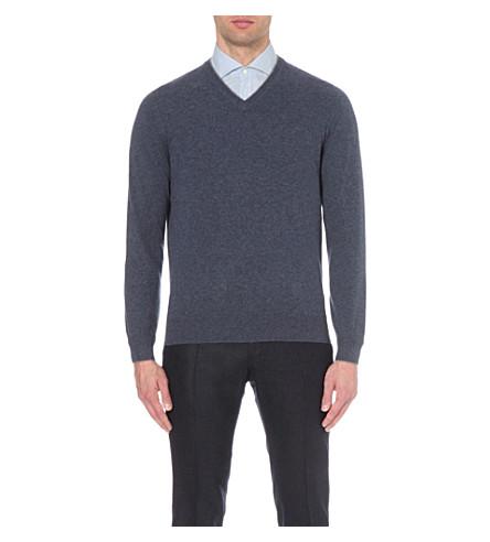 BRUNELLO CUCINELLI V-neck cashmere jumper (Pacific