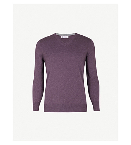 BRUNELLO CUCINELLI V-neck cashmere jumper (Violet+grey
